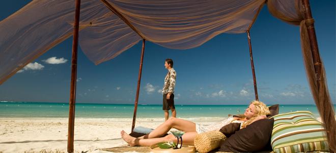 Sandals Grande Antigua Resort & spa beach day bed and cabana