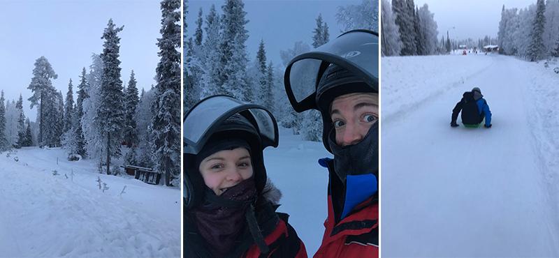 snow mobiling - abbie visits lapland - lapland honeymoon packahes